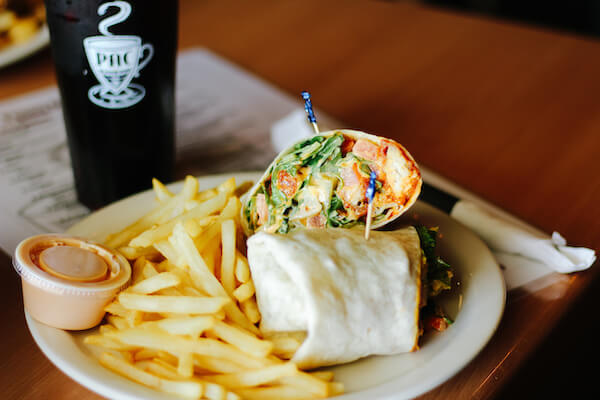 Buffalo Chicken Wrap and French fries